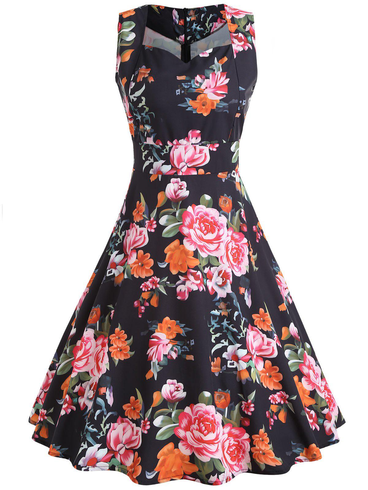 Full Floral Sleeveless Vintage Dress - BLACK L