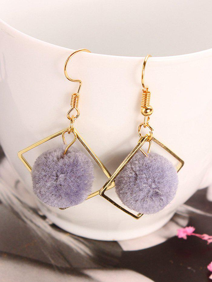 Simple Hairball Hollow Square Hook Earrings - GRAY