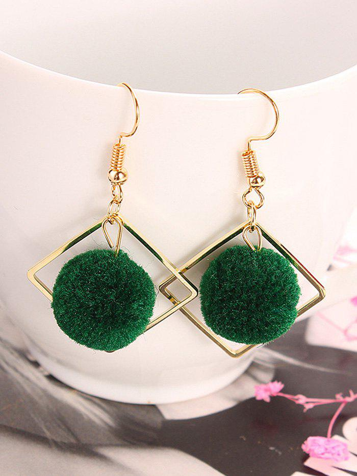 Simple Hairball Hollow Square Hook Earrings - GREEN
