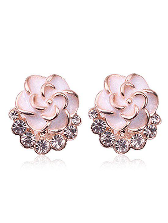 Enamel Floral Faux Crystal Stud Earrings - WHITE