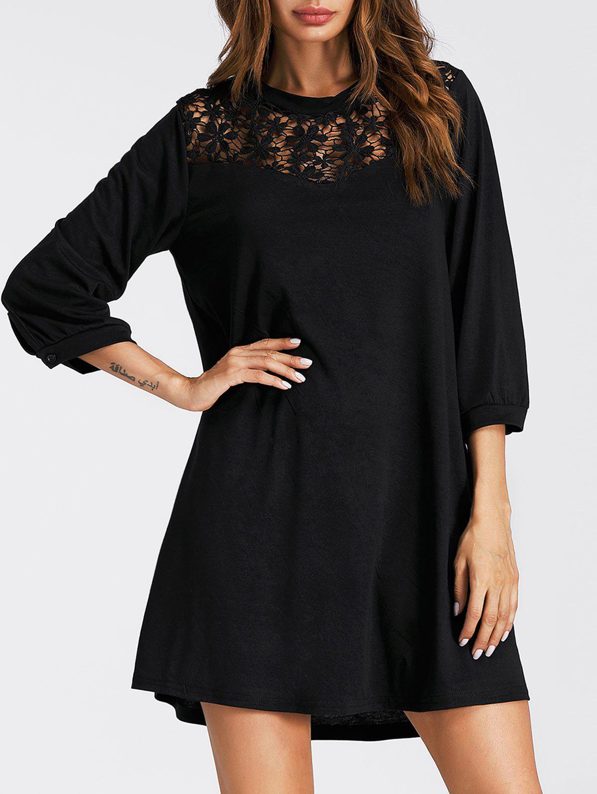 Lace Panel Mini Tunic Dress - BLACK S