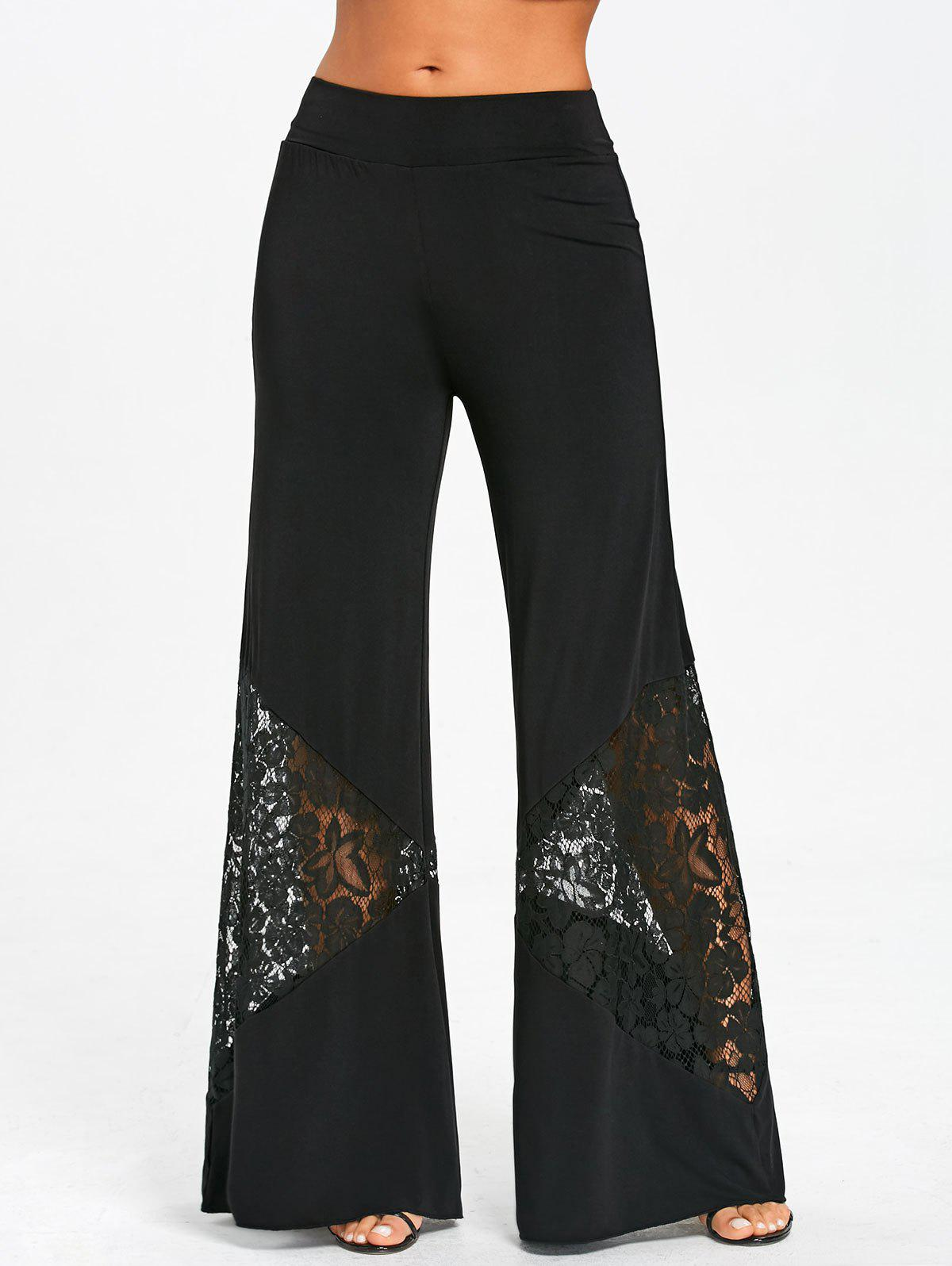 Lace Insert Elastic Waist Wide Leg Pants - BLACK XL