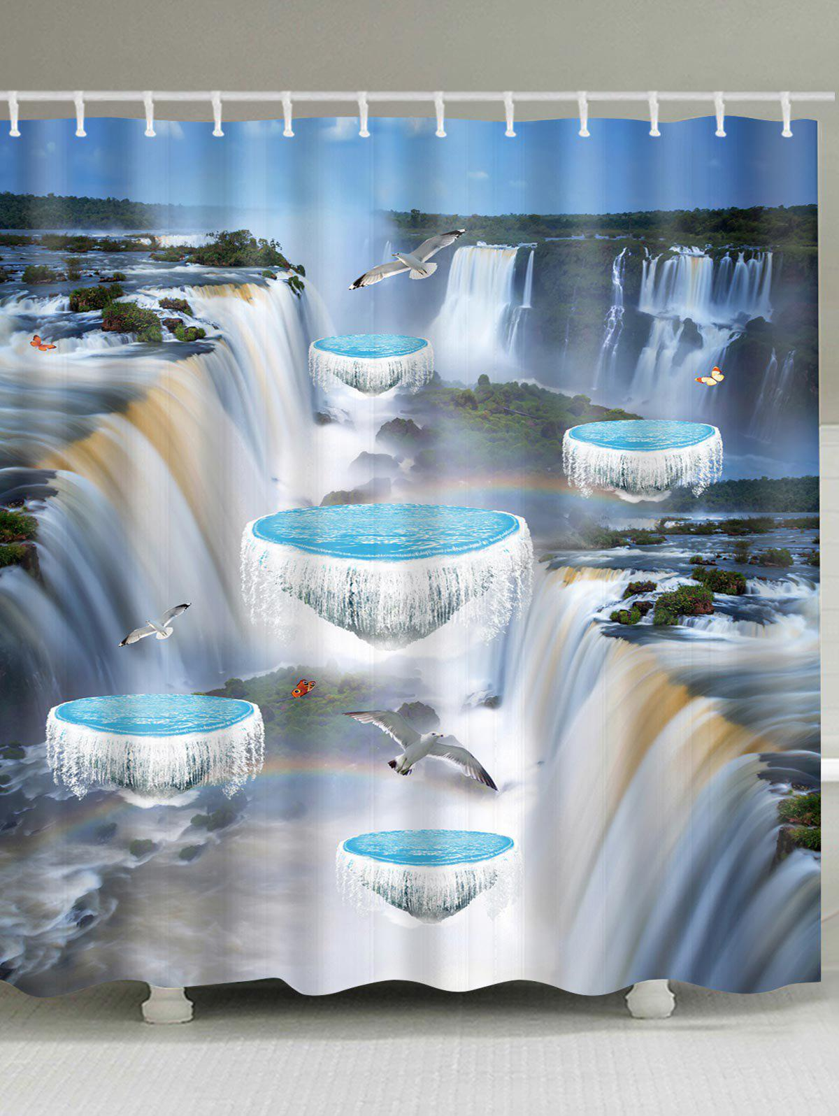 3D Falls Flying Birds Print Bath Shower Curtain - BUTTERFLY BLUE W71 INCH * L71 INCH