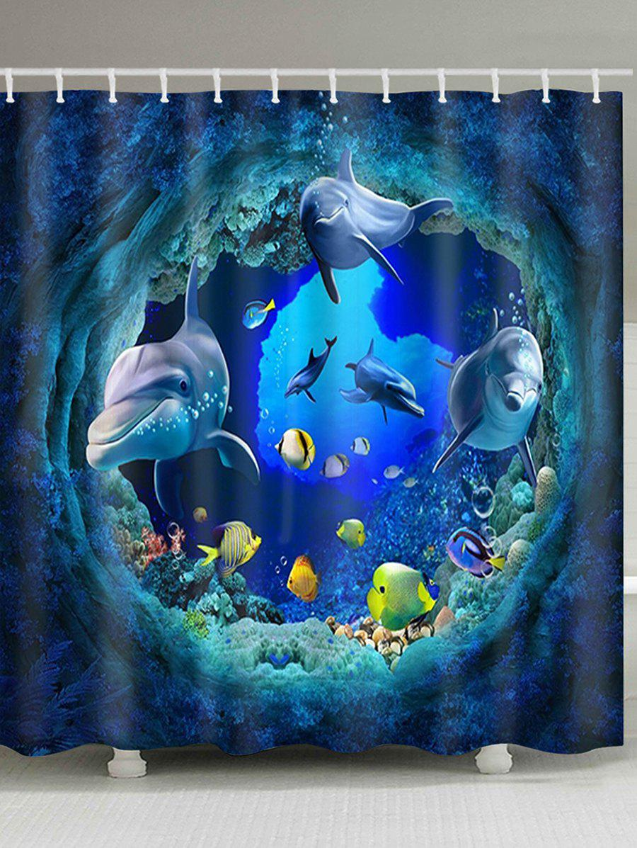 3D Colorful Fish Dolphin Print Waterproof Bath Curtain - BLUE W71 INCH * L71 INCH