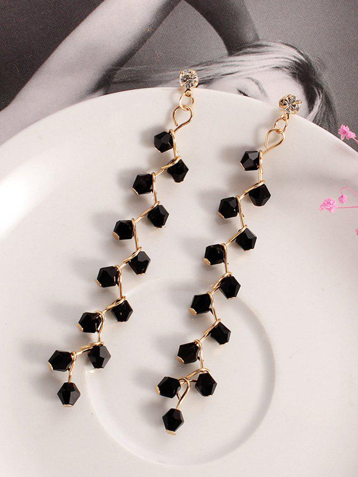 Faux Crystal Branch Drop Earrings - BLACK