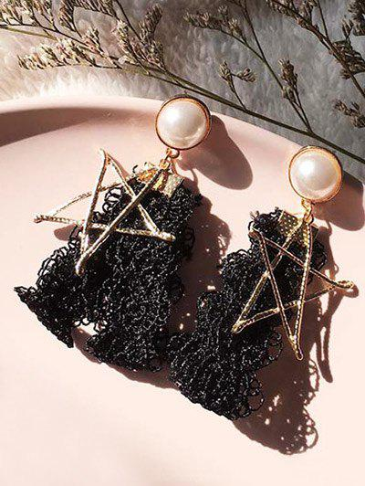 Vintage Faux Pearl Star Earrings - BLACK