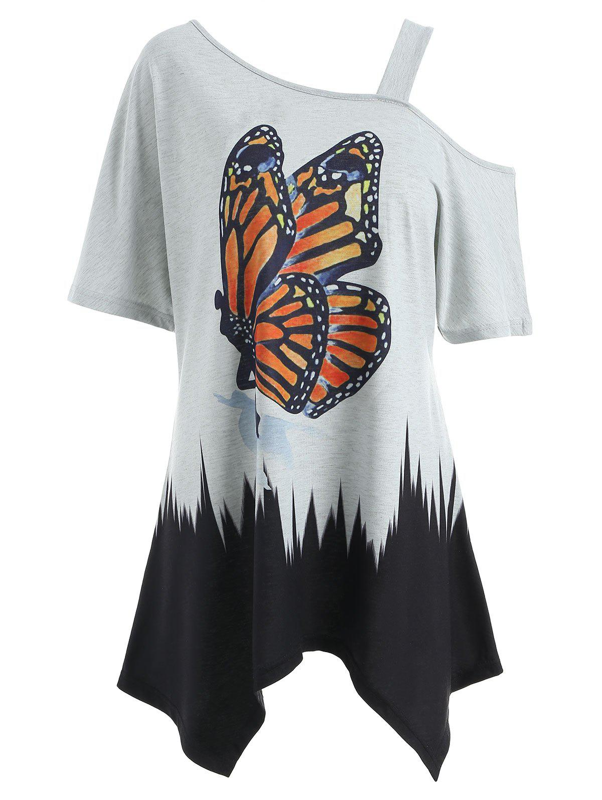 Skew Neck Butterfly Tunic T-shirt, Gray