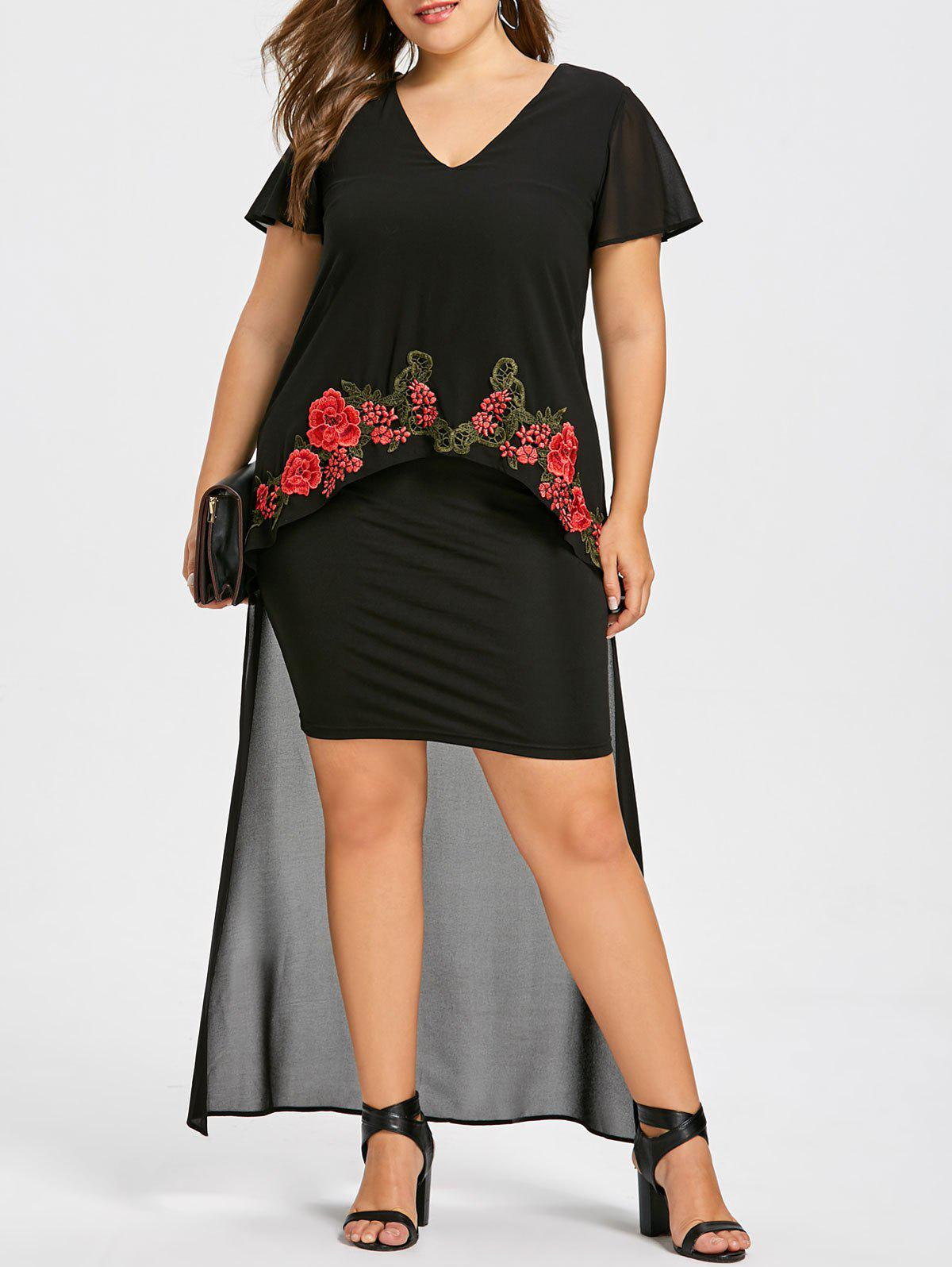Plus Size V Neck High Low Embroidery Dress - BLACK XL