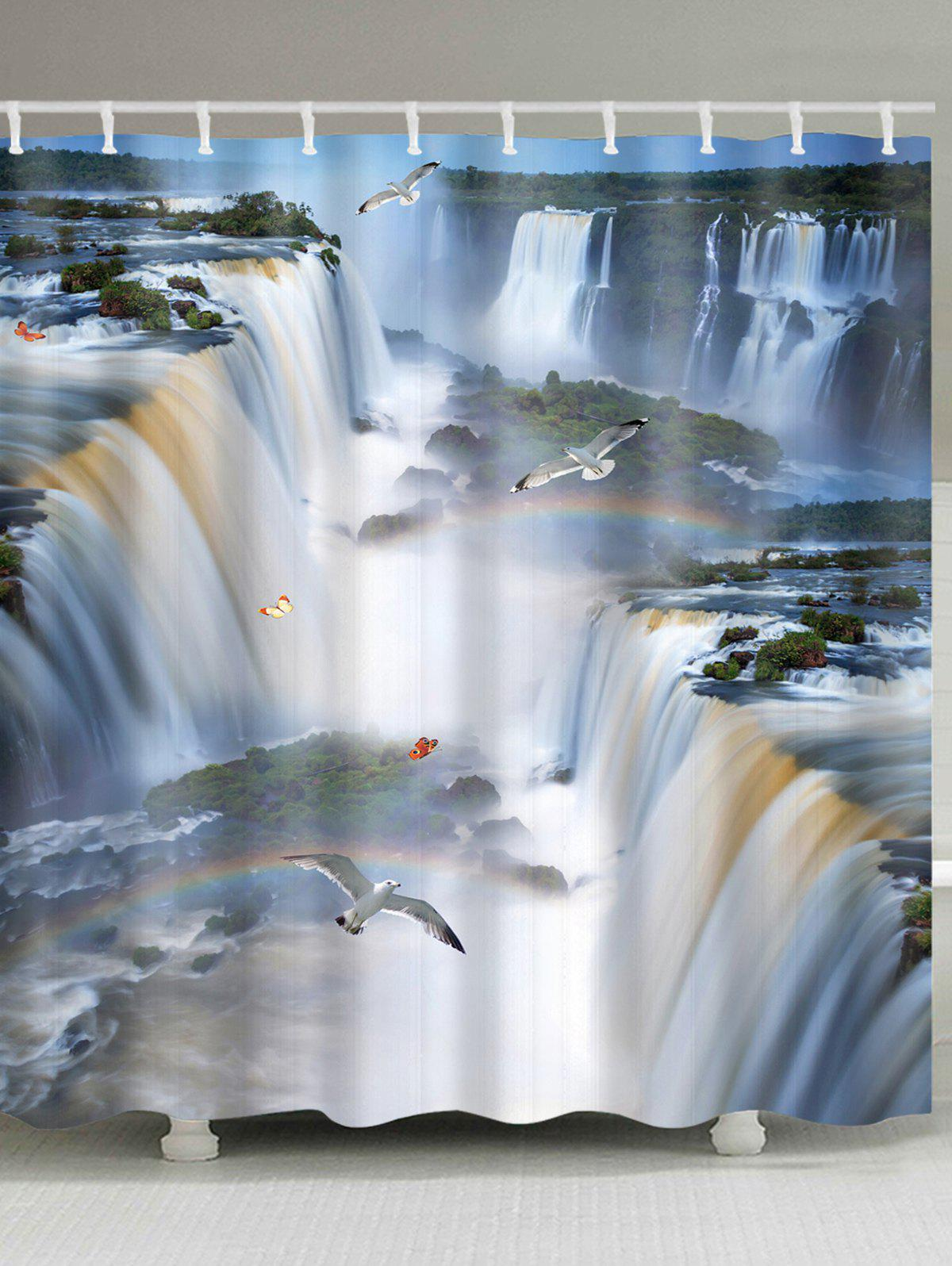 3D Natural Waterfalls Scenery Print Shower Curtain - multicolor A W59 INCH * L71 INCH