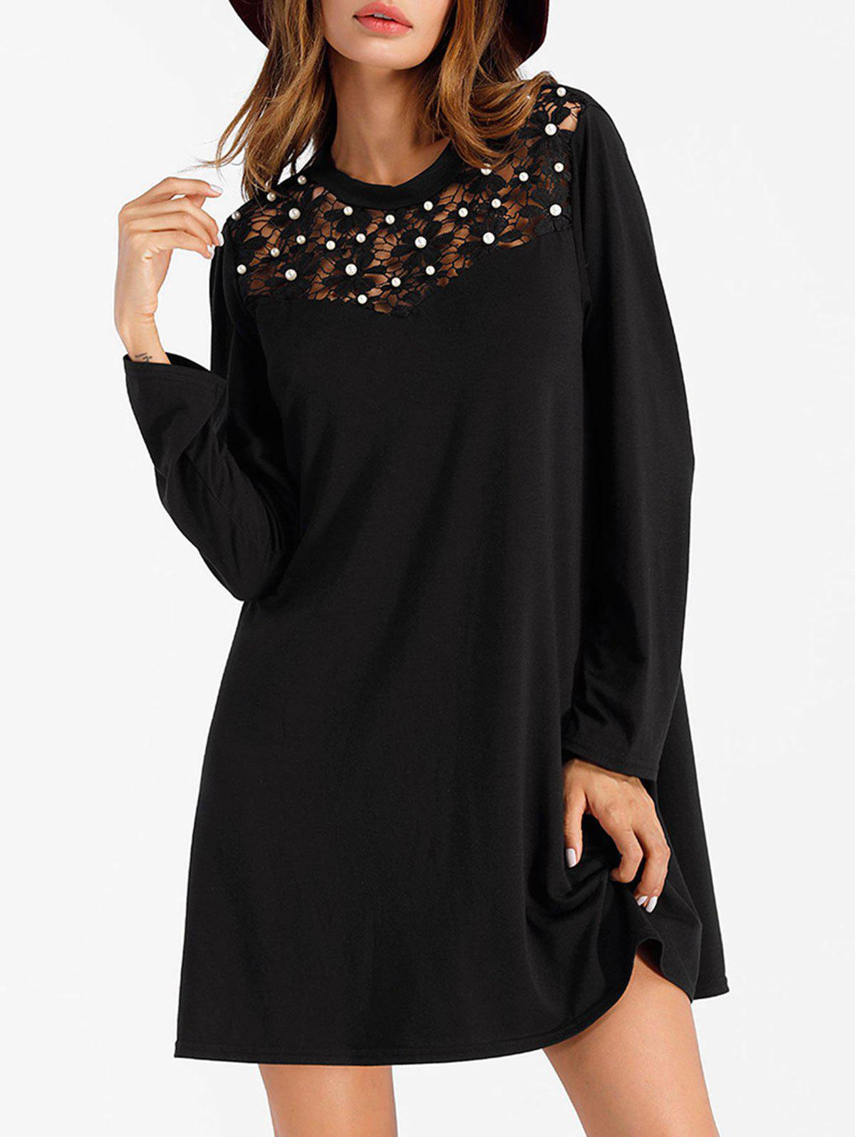 Lace Panel Full Sleeve Mini Shift Dress - BLACK S