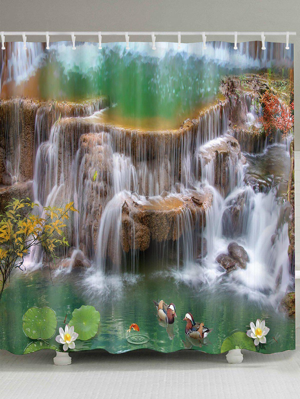 Waterfall Lotus Mandarin Duck Print Waterproof Bath Curtain - multicolor A W71 INCH * L79 INCH