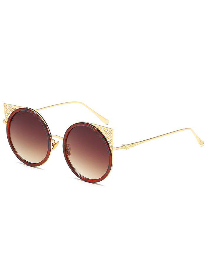 Metal Hollow Out Frame Round Sunglasses - GOLD FRAME/DRAK BROWN