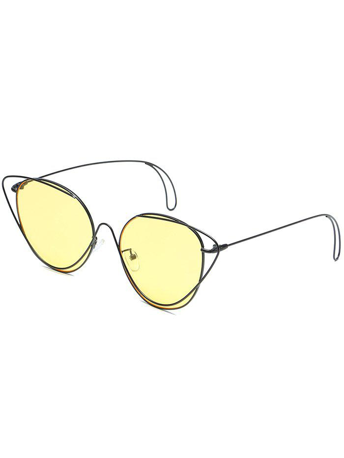 Anti UV Hollow Out Oval Sunglasses - CORN YELLOW
