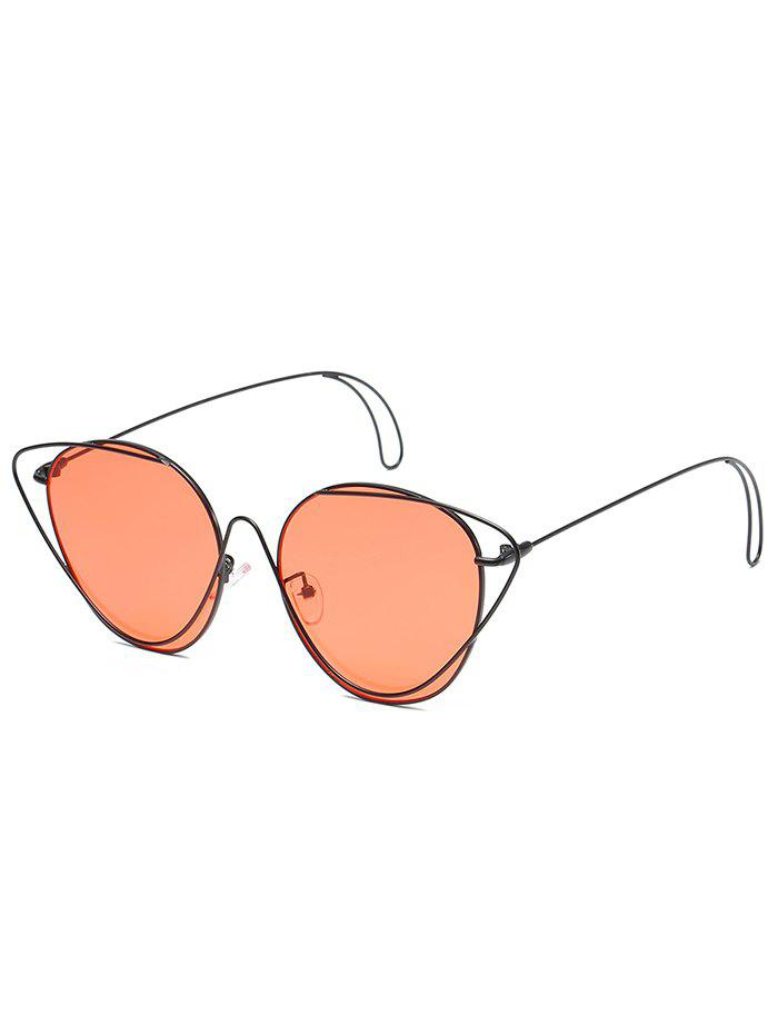 Anti UV Hollow Out Oval Sunglasses - BLACK FRAME/RED LENS