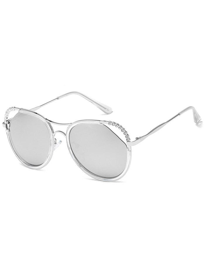 Anti-Fatigue Rhinestone Inlaid Hollow Out Sunglasses - SILVER FRAME / WHITE LENS