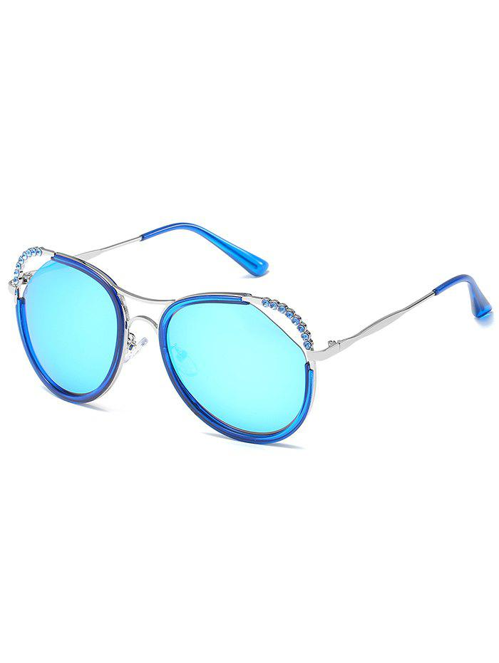 Anti-Fatigue Rhinestone Inlaid Hollow Out Sunglasses - SILVER FRAME/BLUE MERCURY LENS