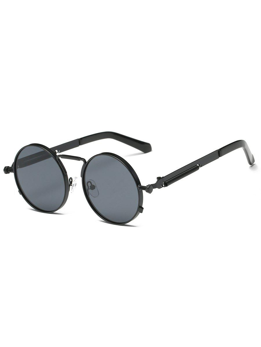 Metal Full Frame Round Driver Sunglasses - BLACK/GREY