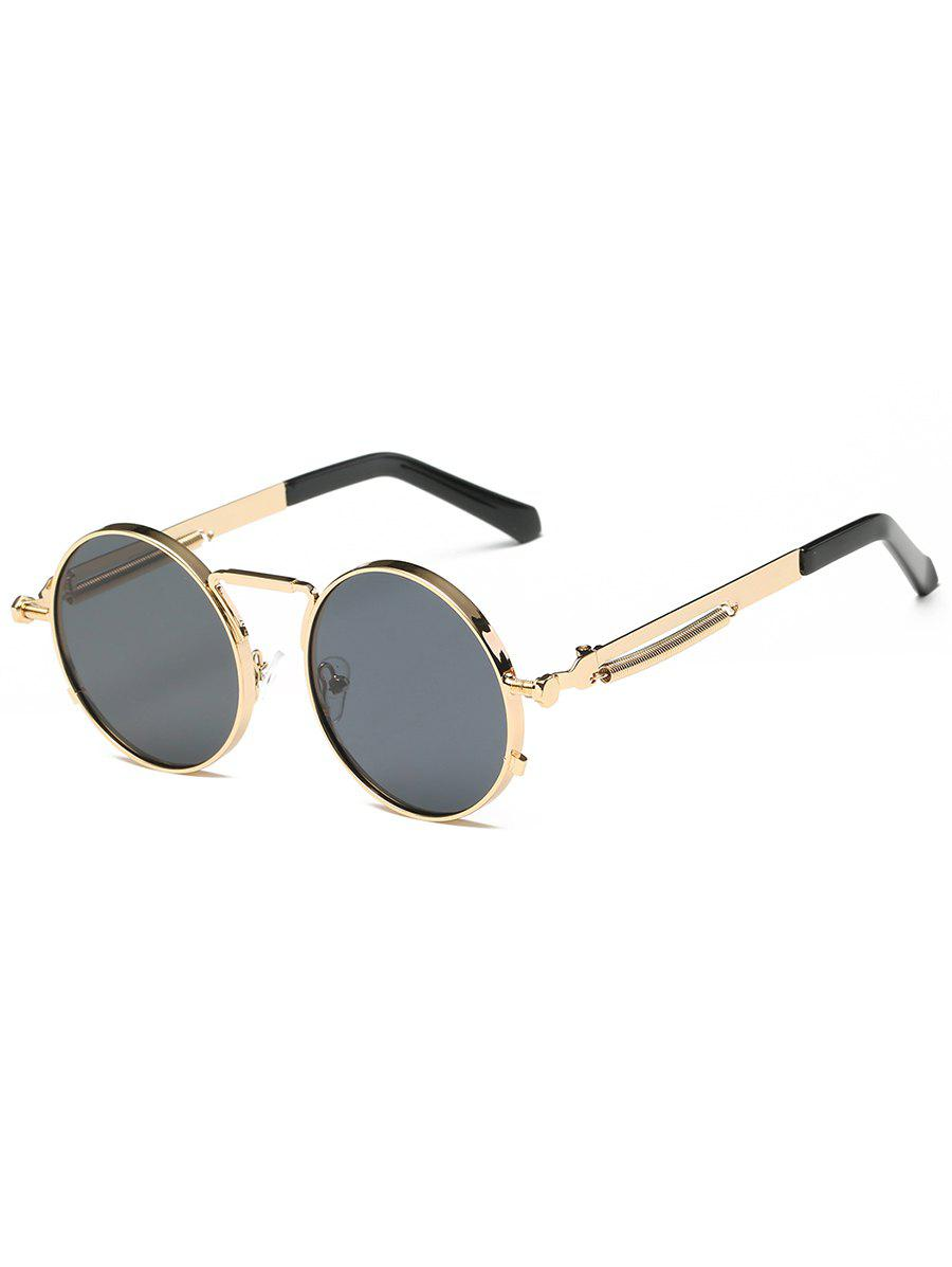 Metal Full Frame Round Driver Sunglasses - GOLDEN/GREY