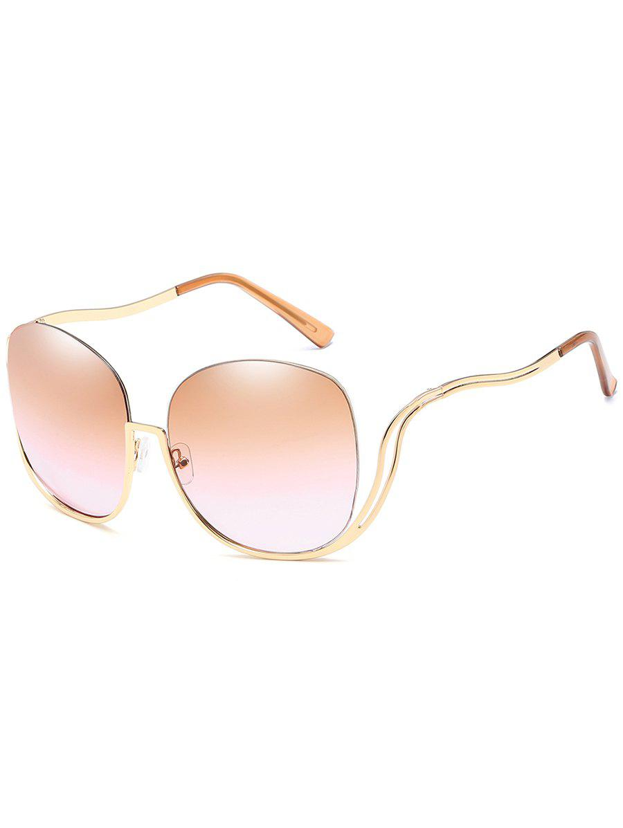 Anti-Fatigue Half Frame Bent Legs Sunglasses - GOLD FRAME/DRAK BROWN