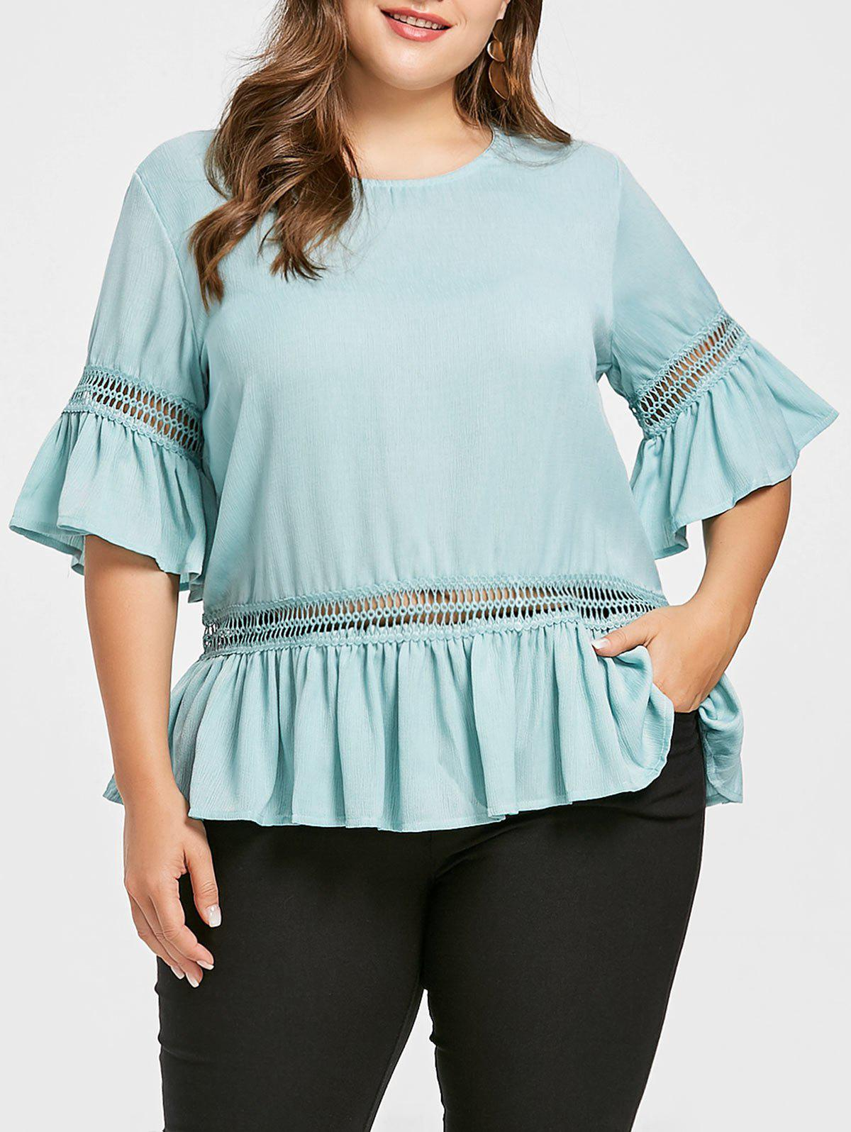 Frilly Plus Size Openwork Blouse