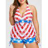 Plus Size US Flag Drawstring Tankini Set - US FLAG 2X