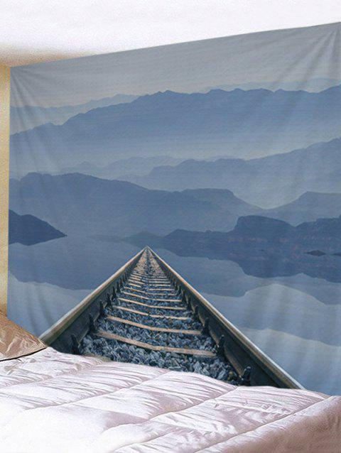 Railway Mountain Print Tapestry Wall Hanging Art Decoration - DENIM BLUE W79 INCH * L59 INCH