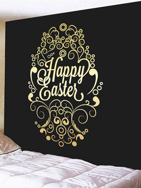 Happy Easter Letter Print Wall Hanging Tapestry - BLACK W79 INCH * L59 INCH