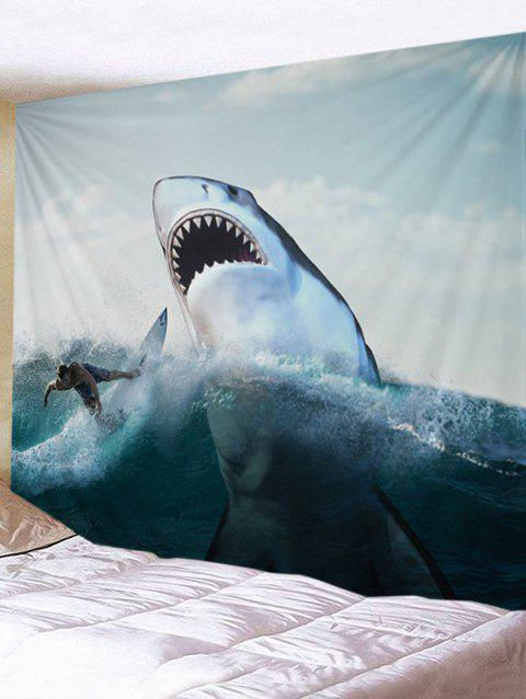Surfer and Ferocious Shark Print Wall Hanging Tapestry - WHITE W91 INCH * L71 INCH