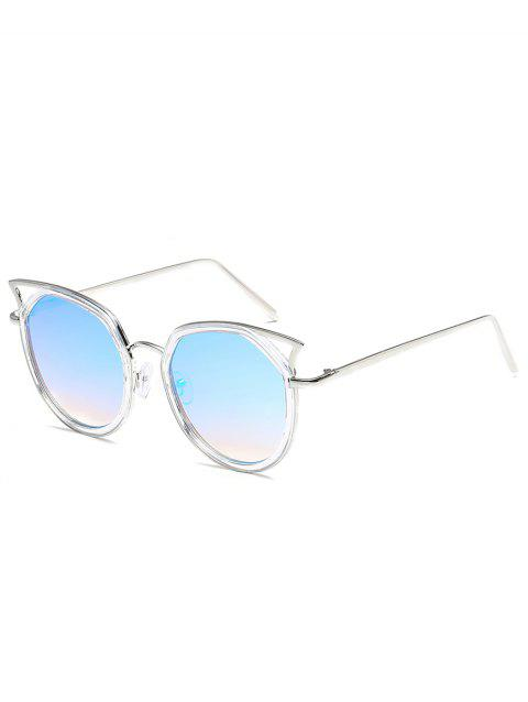 Anti Fatigue Metal Full Frame Hollow Out Sunglasses - SILVER FRAME/BLUE MERCURY LENS