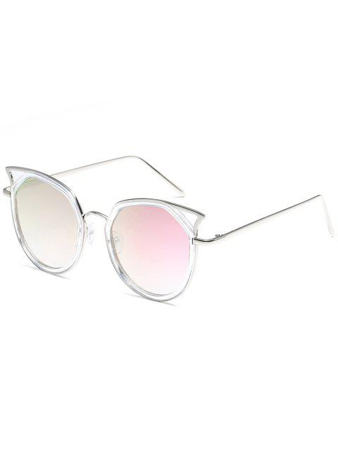Anti Fatigue Metal Full Frame Hollow Out Sunglasses - WHITE/PURPLE