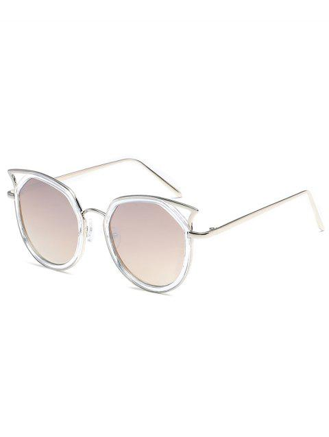 Anti Fatigue Metal Full Frame Hollow Out Sunglasses - SILVER FRAME / WHITE LENS