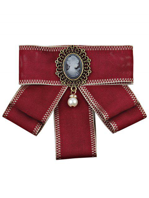 Elegant Woman and Faux Pearl Embellished Collar Brooch - RED WINE