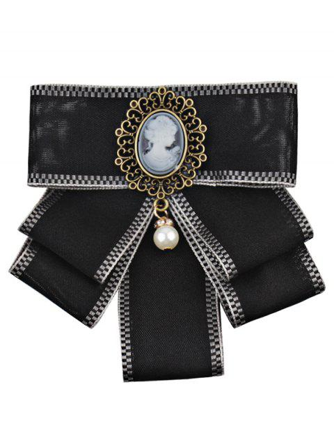 Elegant Woman and Faux Pearl Embellished Collar Brooch - BLACK