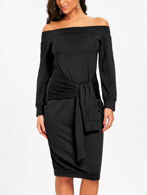 Off Shoulder Tie Waisted Sweatshirt Dress - BLACK S