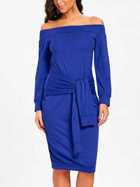 Off Shoulder Tie Waisted Sweatshirt Dress - BLUE S