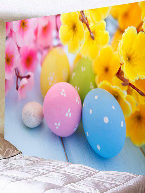 Flowers and Colorful Egg Shape Stones Printed Tapestry Wall Decor - multicolor W79 INCH * L71 INCH