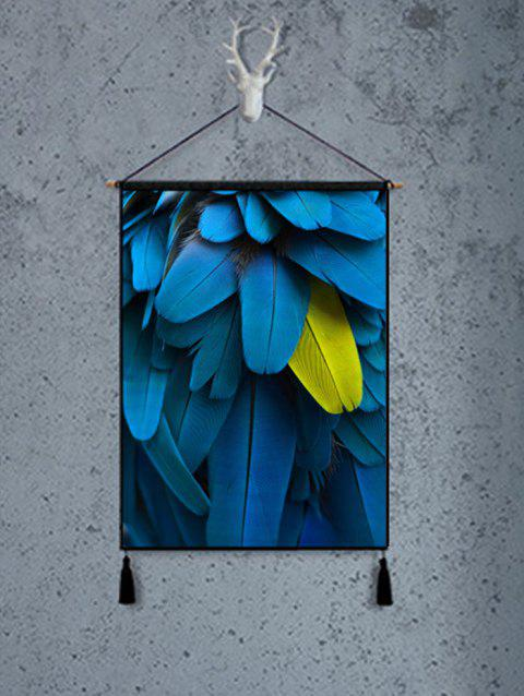 Graceful Feather Pattern Wall Art Painting - SILK BLUE 1PC:18*26 INCH(NO FRAME)
