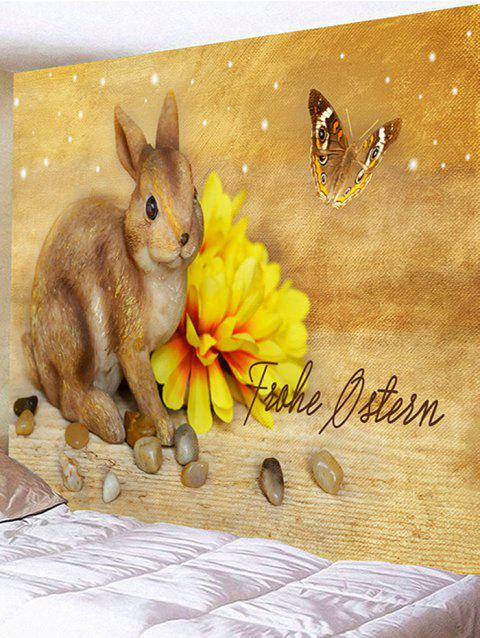 Rabbit Flower Butterfly Printed Tapestry Wall Art - SUN YELLOW W79 INCH * L71 INCH
