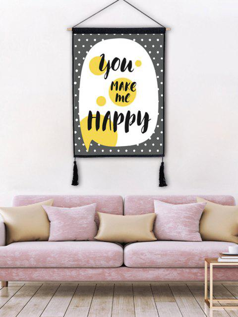 17% OFF] 2018 Round Dots Word Printed Wall Decor Tassel Hanging ...