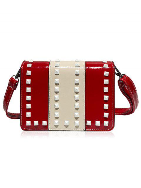a6fceb527 17% OFF] 2019 Color Block Rivets Faux Leather Crossbody Bag In RED ...