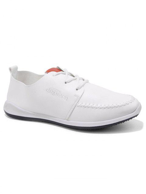 Artificail Leather Stitch Toe Casual Shoes - WHITE 42