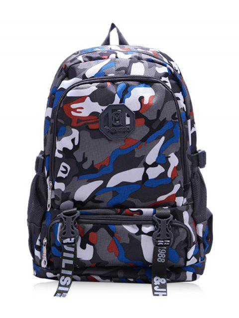 Color Block Large Capacity Travel Backpack - BLUE
