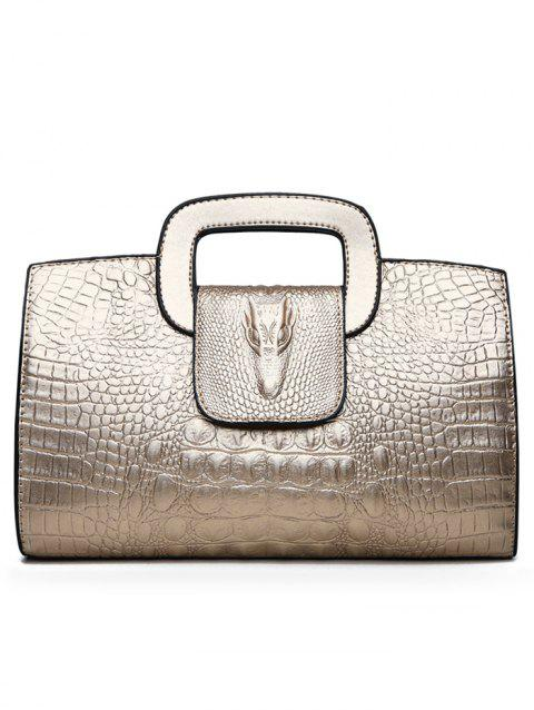 Faux Leather Embossed Handbag with Shoulder Strap - GOLD