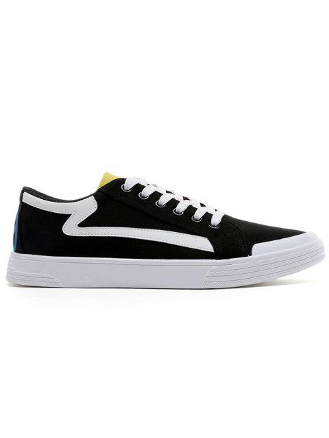 Contrasting Canvas Skate Shoes - BLACK 44