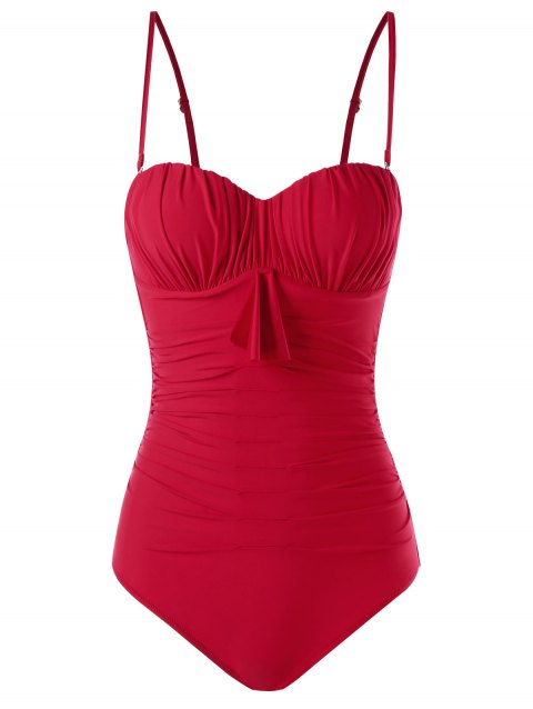 Ruched Padded Bandeau One Piece Swimsuit - RED XL