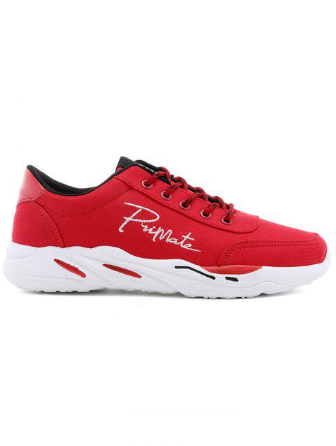 Lace Up Embroidered Sneakers - RED 41