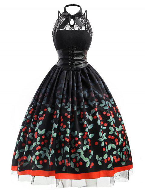 Cherry Printed Plus Size Retro Gothic Dress - BLACK 5XL
