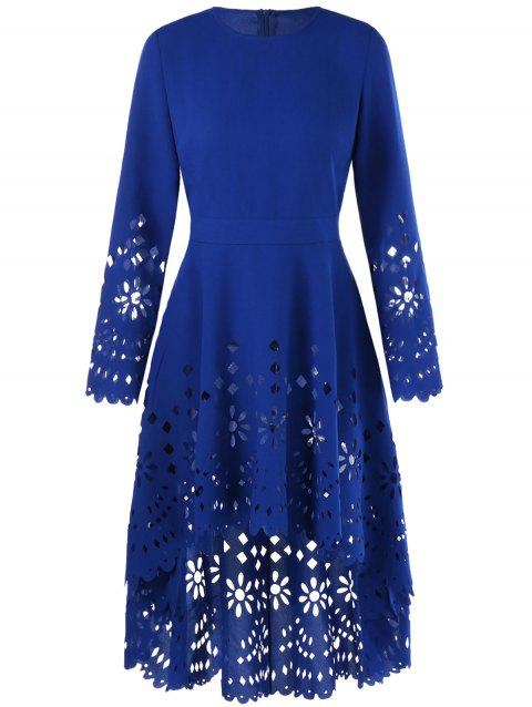 Openwork High Low Flowy Long Top - BLUE XL