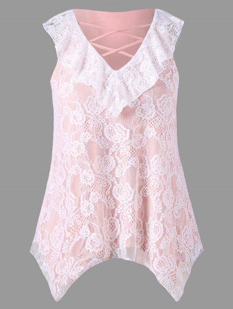 Plus Size Ruffled Lace Asymmetrical Tank Top - COLORMIX 2XL
