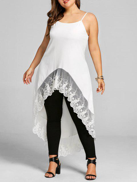 d396df26cdefc 17% OFF  2019 Plus Size Lace Trim High Low Cami Tank Top In WHITE ...
